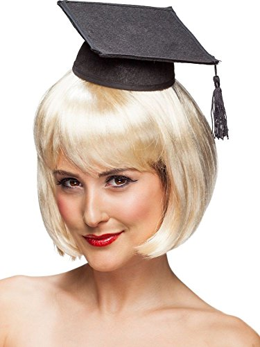 Mini-Absolventenhut schwarz Mini-Hut mit Haarreif Bachelor Master Uni Abschluß