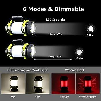 LE Lampe Camping LED, Lanterne Camping Rechargeable 2600mAh, Lampe Torche LED Puissante 6 Modes, Cable USB Inclus, Etanche pour Bricolage, Randonnee, Garage, Secours, Cave