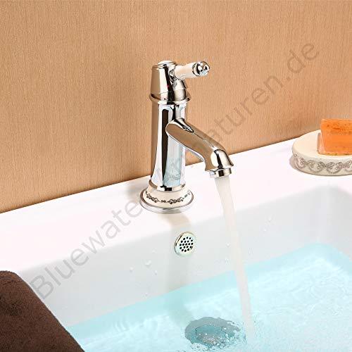 Art Platino NIKOLAS NIK-BUN.011C - Rubinetteria per lavabo in stile retrò, cromato/bianco, miscelatore monocomando per bagno
