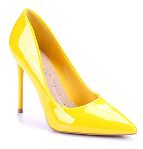 Schuhtempel24 Damen Schuhe Klassische Pumps gelb Stiletto 10 cm High Heels