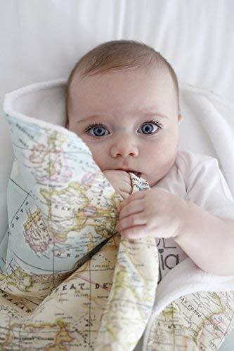 Mimuselina Arrullo para Bebé Recién Nacido | Arrullo de Algodón 100%, Extrasuave con Interior Aterciopelado, Ligero, Cálido y Confortable para el Invierno, Estampado Mapa Mundi, 90x70 cm