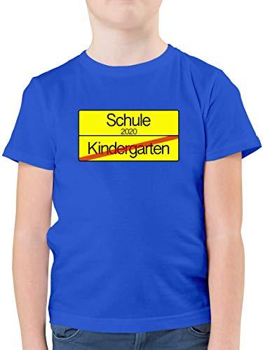 Einschulung und Schulanfang - Ortsschild Verkehrsschild Schule 2020 Kindergarten - 128 (7/8 Jahre) - Royalblau - t-Shirt Kindergarten/Schule - F130K - Kinder Tshirts und T-Shirt für Jungen