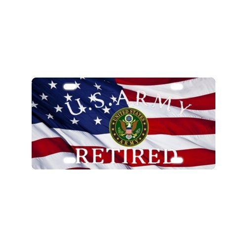 Metall Auto Nummernschild mit US Army Retired und American Flagge Design Auto Tag Hot Verkauf–15,2x 30,5cm
