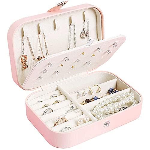 MAVL Caja de joyería for Mujeres niñas Novia Esposa Regalo Ideal, pequeña Caja de Almacenamiento de joyería de Cuero con 2 Capas Pantalla for Pendientes Brazaletes Anillos Relojes -Negro