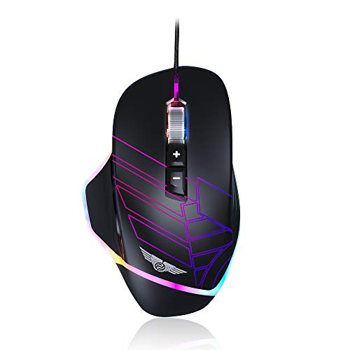 NEWMEN GX7-Pro Wired Gaming Mouse, 8 Programmable Buttons and 5 DPI Profiles with Max 6200 DPI Optical Sensor, RGB Backlit, Ergonomic Asymmetric Design