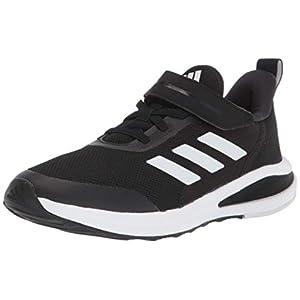 adidas Fortarun Elastic Running Shoe, Black/Black/White, 2 US Unisex Little Kid