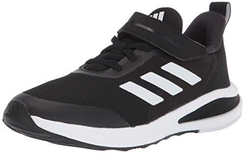 adidas unisex child Fortarun Elastic Running Shoe, Black/Black/White, 11.5 Little Kid US