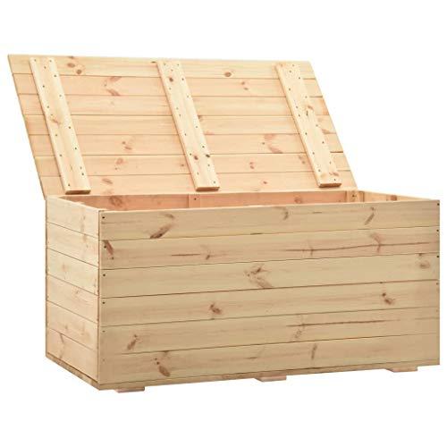 Irfora Holztruhe Groß Gartenbox Holz Truhenbank Auflagenboxen Aufbewahrungsbox Garten Gartentruhe Sitztruhe Kissenbox Truhe Outdoor, 120x63x50,7 cm Massivholz Kiefer