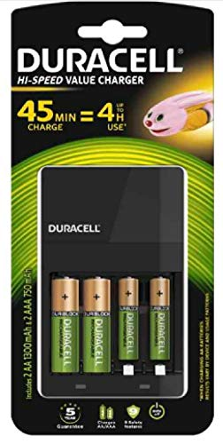 Chargeur de Piles Duracell CEF14 4 Heures, Avec Piles Rechargeables incluses, 2 AA + 2 AAA