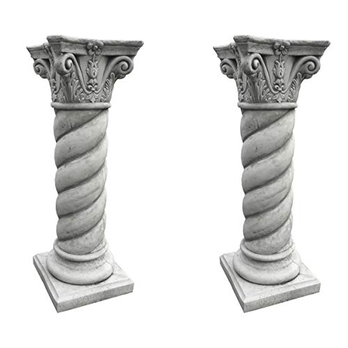 Antikes Wohndesign Spar-Set 2 x Steinsäule Sockelsäule Griechische Blumensäule Blumenständer Gartensäule Figurenständer Höhe: 95cm