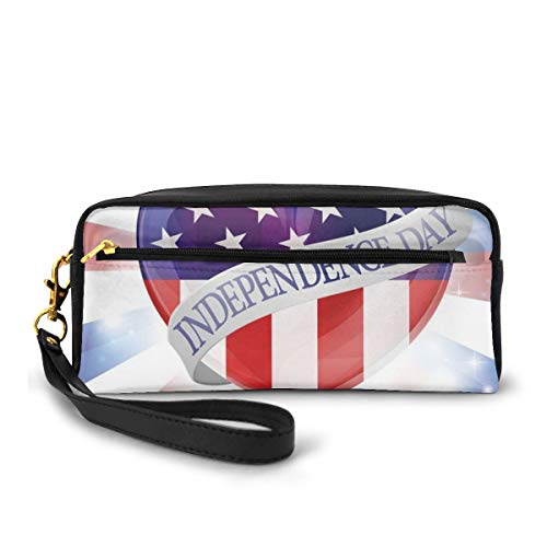 Pencil Case Pen Bag Pouch Stationary,Colorful Celebration of Independence of United States Summer Season Holiday,Small Makeup Bag Coin Purse