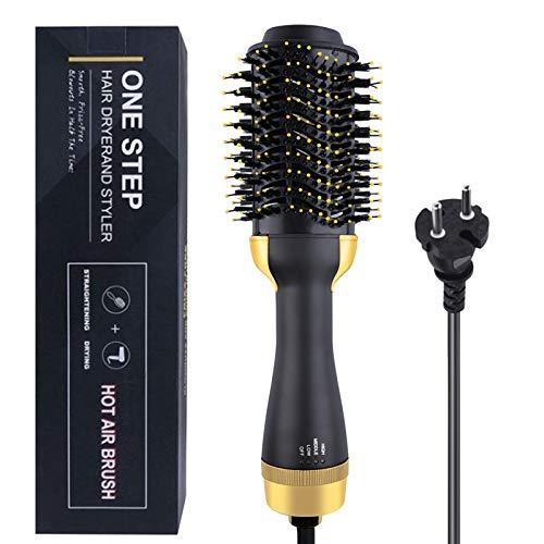 Cepillo secador de pelo, 3 en 1 secador de pelo de iones negativos portátil cepillo de aire caliente plancha de pelo rizador, cabeza de plástico enchufe dorado de la UE