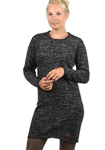 BlendShe Danielle Damen Strickkleid Feinstrick Kleid Mit Rundhals Aus 100% Baumwolle, Größe:S, Farbe:Black (70155)