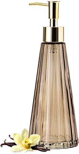 EMPO Vintage Elegant Glas Seifenspender Flüssigseife Desinfektionsmittel Shampoo Flasche mit Pomp, Rustikale Bauernhaus Dekor Hand Seifenspender Badezimmer Zubehör (Braun)
