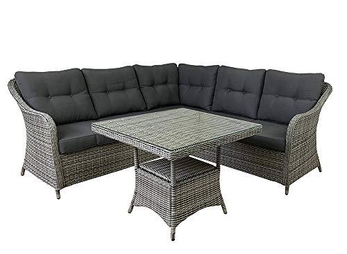 L.C. Wholesaler 4 TLG. Loungeecke Speiselounge Soria grau-Mix Loungeset Gartenmöbel Polyrattan Sitzgruppe