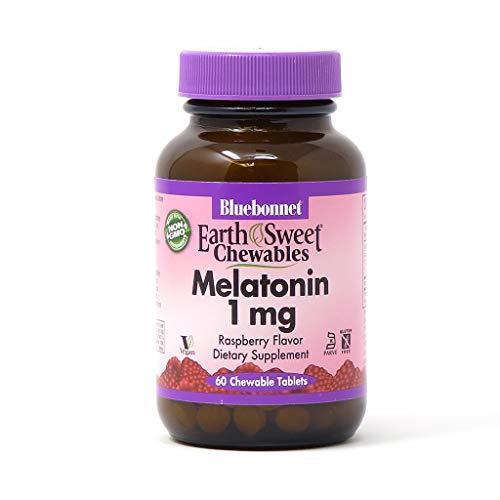 Bluebonnet Nutrition EarthSweet Melatonin 1 mg Fast-Acting Quick Dissolve Nighttime Relaxation & Restful Sleep Support - Sleep Aid - Gluten-Free, Vegan - Raspberry Flavor - 60 Chewable Tablets