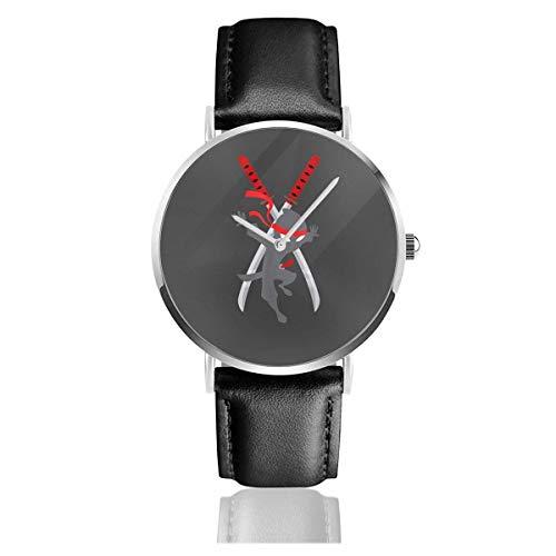Cwc Chad Wild Ninja - Unisex - Orologi da polso per adulti - Cinturino per orologio in pelle al quarzo in acciaio inossidabile argento - regalo di Capodanno