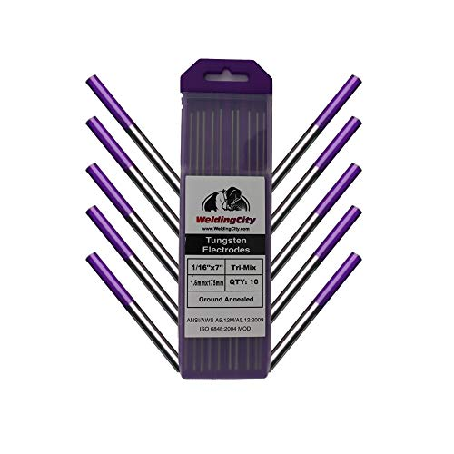 Kosiy WeldingCity 10-pk TIG Welding Tungsten Electrode Tri-Element Non-Radioactive (Purple) 1/16