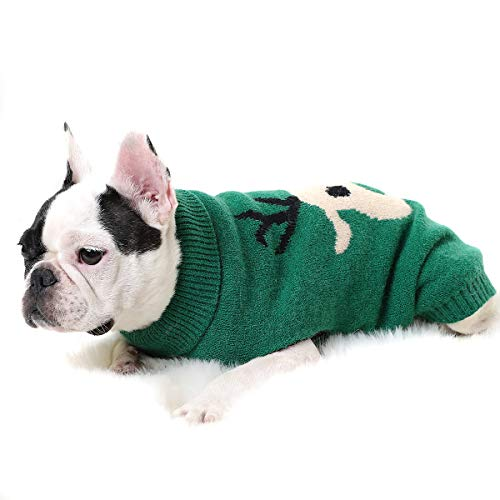 Dog Pet Christmas Sweaters Cartoon Reindeer Year Christmas Dog Sweater Xmas Costumes Winter Sweatshirt Clothing for Dogs Puppy Kitten Cats Green M
