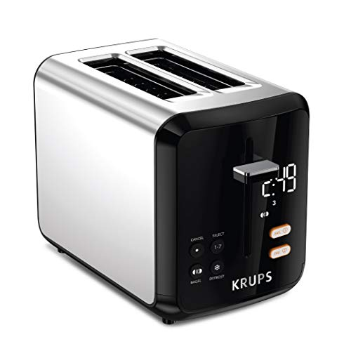 KRUPS KH320D50 My Memory Digital Stainless Steel Toaster, 7 Browning Level with personalized setting, Black