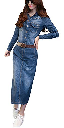 Bestfort Jeanskleid Damen V-Ausschnitt Retro Denim Kleid Kurze Ärmel Dress Mit Gürtel Blau