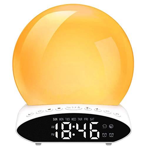 Sunrise Alarm Clock,Wake Up Light Sunrise Alarm Clocks with LED Display Sunset Simulation Alarm...