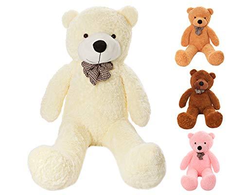 MyTeddyWorld Duży Miś - Pluszowy Miękki Miś - Miękka zabawka - Prezent dla dzieci - Idealny na Urodziny Ślub Walentynki Boże Narodzenie (Biały 140 cm)