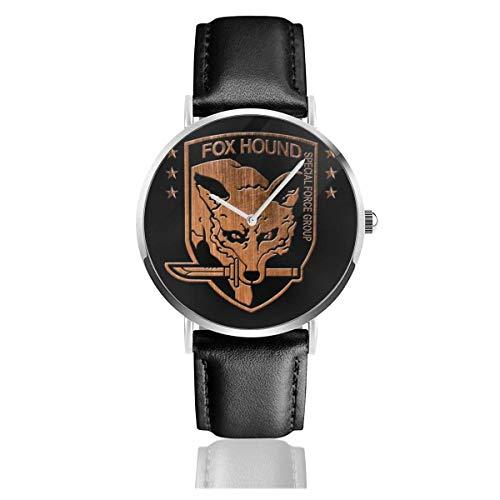 Relojes Cuarzo Cuero Banda Negra Colección Joven Regalo Unisex Business Casual Foxhound Special Forces Group Metal Gear Solid