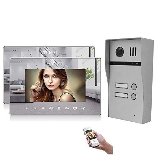 2 Familienhaus Türsprechanlage Gegensprechanlage Fischaugenkamera 170 Grad, HD Auflösung WLAN, Farbe: 2x7'' Monitor Spiegel mit WLAN Außenstation aufput