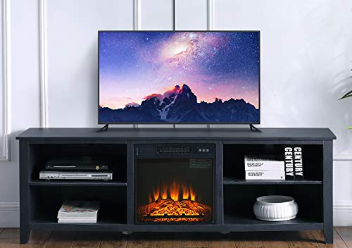 "Ohuhu 70"" Modern TV Stand with Electric Fireplace, 4 Storage Media Shelves, Flame Brightness Adjustable, Fast Heating and Overheat Protection for Living Room, Apartment, Entertainment Center, Black"