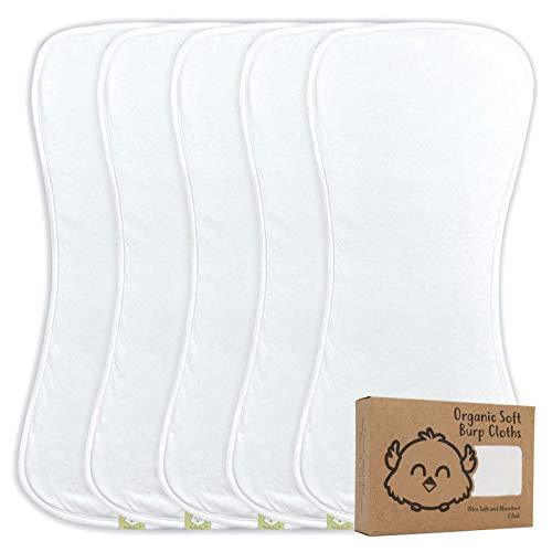 Organic Burp Cloths for Baby Boys and Girls - 5-Pack Ultra Absorbent Burping Cloth, Burp Clothes, Newborn Towel - Milk Spit Up Rags - Burpy Cloth Bib for Unisex, Boy, Girl - Burp Cloths (Soft White)