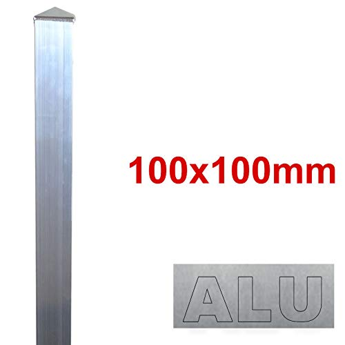 BAUER - Alu Zaun- Torpfosten zum Einbetonieren, 100x100x3mm, L = 1900mm