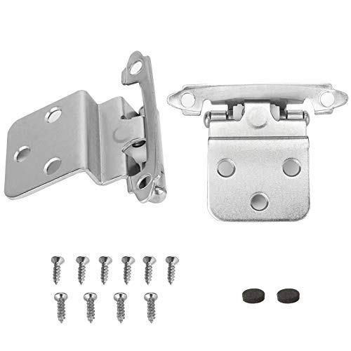 12 Pairs goldenwarm Cabinet Door Hinges Brushed Nickel Hinges for Kitchen Cabinets Inset - SCH38SNB Self Closing Cabinet Hardware Hinges Face Mount Decorative Cabinet Hinges,3/8''