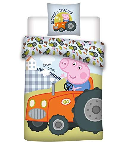 036 Peppa Pig Ropa de Cama, Ropa de Cuna/Ropa de Cuna, Peppa Pig Georges Tractor, Ropa de Cama Reversible, Funda de Cojín 40x60 + Funda de Edredón 100x135cm, 100% Algodón Eco-Tex