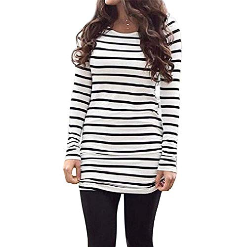 Sherosa Womens Tops Tunic Long Sleeve Color Block Comfy Stripe Round Neck T Shirt Tops (L, Black and White)