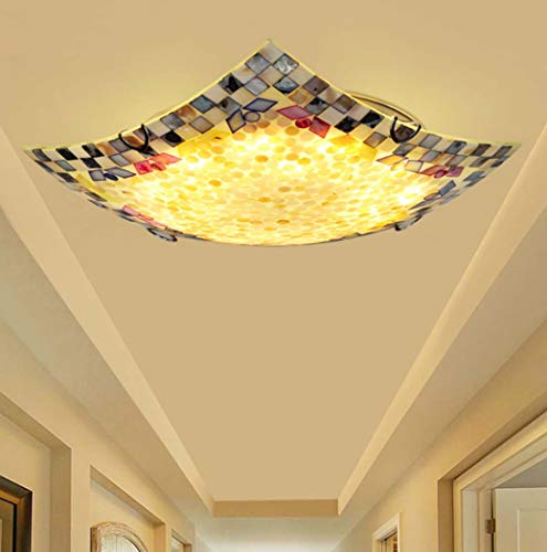 Yjmgrowing LED Shell plafondlamp in pastorale Tiffany-stijl glasverf inbouw plafondlamp voor slaapkamer gang kunst lamp, LED driekleurig licht, 220V