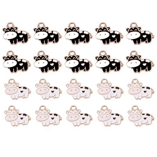 WINOMO Colgantes Collares Encanto en forma de vaca DIY para hacer joyas Accesorios 20pcs 2 Colores