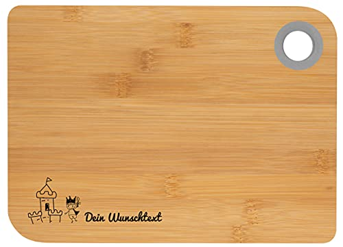 Frühstücksbrett mit Wunschtext aus Bambus mit vorgefertigten Motiven (Ritter & Burg)