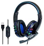 Manhattan Wired USB-A Gaming Headset with LEDs - Volume Control with Mic & Audio Mute Buttons – 5.9 ft USB Cable for Console- Compatible with PC, PS3, PS4, Windows, Mac, Black and Blue - 176088