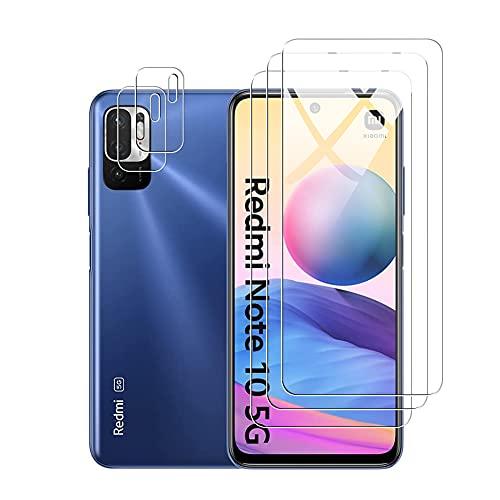 Fitudoos para Xiaomi Poco M3 Pro Redmi Note 10 5G Protector de Pantalla[3 Piezas]+Protector de Lente de Cámara[2 Piezas], [9H Dureza] [Resistente a Arañazos].