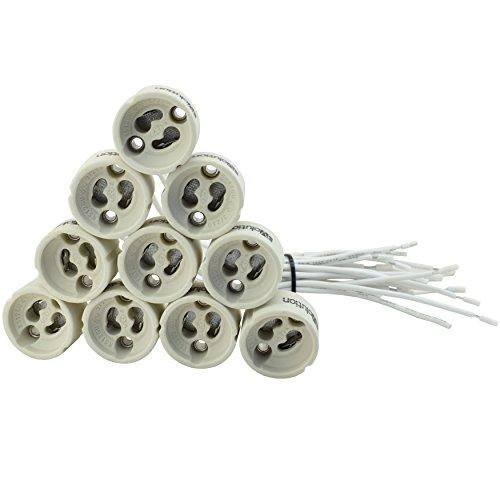 Evolution GU10 Fassung Sockel aus Keramik mit Qualitäts Silikonkabel für LED und Halogen 10er Set