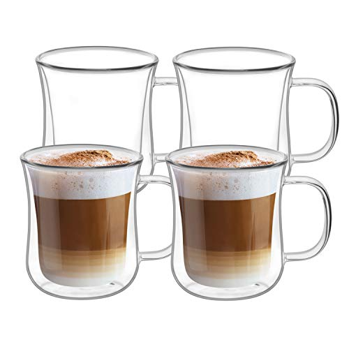 ComSaf Double Walled Glass Coffee Mugs (6oz/180ml), Thermal Insulated Borosilicate Glass Cups with Handle for Tea, Coffee, Latte, Cappuccino, Hot and Cold Drinks Beverages, Pack of 4