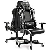 Gaming Stuhl YOLEO Bürostuhl Gamer Ergonomischer Stuhl Einstellbare Armlehne Einteiliger Stahlrahmen Einstellbarer Neigungswinkel Gaming Chair Grau
