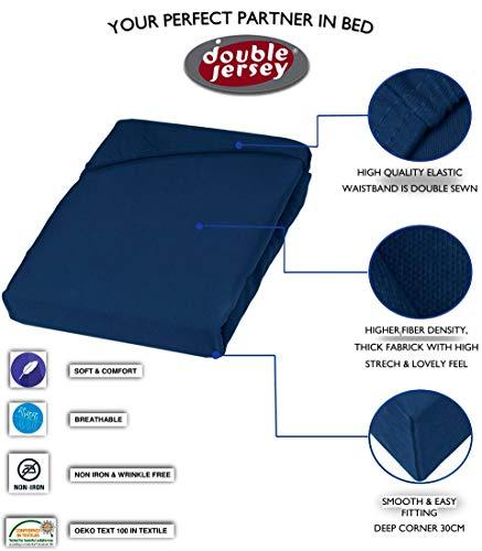 Double Jersey – Spannbettlaken 100% Baumwolle Jersey-Stretch bettlaken, Ultra Weich und Bügelfrei mit bis zu 30cm Stehghöhe, 160x200x30 Marineblau - 3