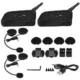 2 Set V6 Pro 1200M Interphone Cuffie interfoniche Bluetooth, 6 motociclisti Casco moto Auricolare interfono Bluetooth (2 sets)