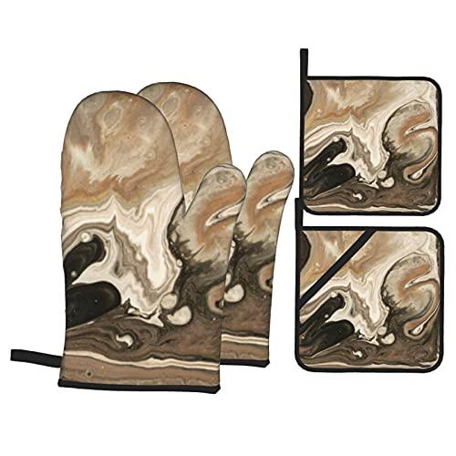 Diseño de Textura veteada Dorada Beige (465) Juegos de Manoplas y Soportes para ollas de Horno Guantes de Horno de Cocina Resistentes al Calor Agarradera Almohadilla Caliente para cocinar Pa
