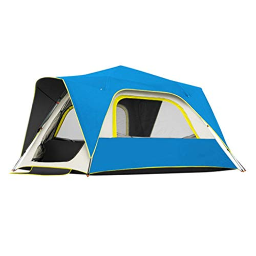 ZYM Frame Tents Automatic Pop Up Camping Tent 3 4 5 Person with Double Layer Waterproof for Family Hiking Mountaineering Dome Tents (Color : Blue, Size : 4 person)