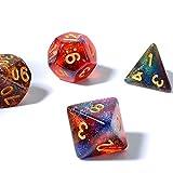 FLASHOWL D20 Dice Starry Sky Cambiar Color bajo Luces Dices Vía láctea Dice 4 Colores en uno Dice Dice Games Table Games Dice Set D20, D12, D10, D8, D6, D4 y Dice DND RPG MTG (7 Piezas)
