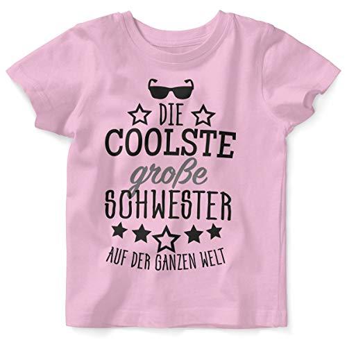 Mikalino Baby/Kinder T-Shirt mit Spruch für Jungen Mädchen Unisex Kurzarm Die coolste große Schwester auf der ganzen Welt | handbedruckt in Deutschland, Farbe:rosa, Grösse:92/98