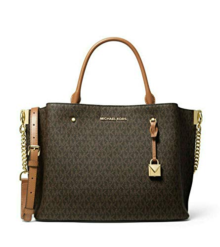 "MK Signature Canvas, Genuine Leather Trim Gold-tone hardware 12.75""W X 10""H X 7.5""D Handle drop: 5.5"", Adjustable strap: 18.25""-20.25"" Interior details: back magnetic snap compartment, center zip compartment, back zip pocket, front magnetic snap comp..."